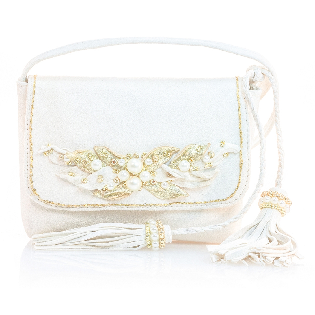 VIBYS white and gold littlegirls leather shoulder bag