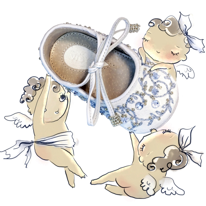 White embroidered baby shoe and three cherubs illustration
