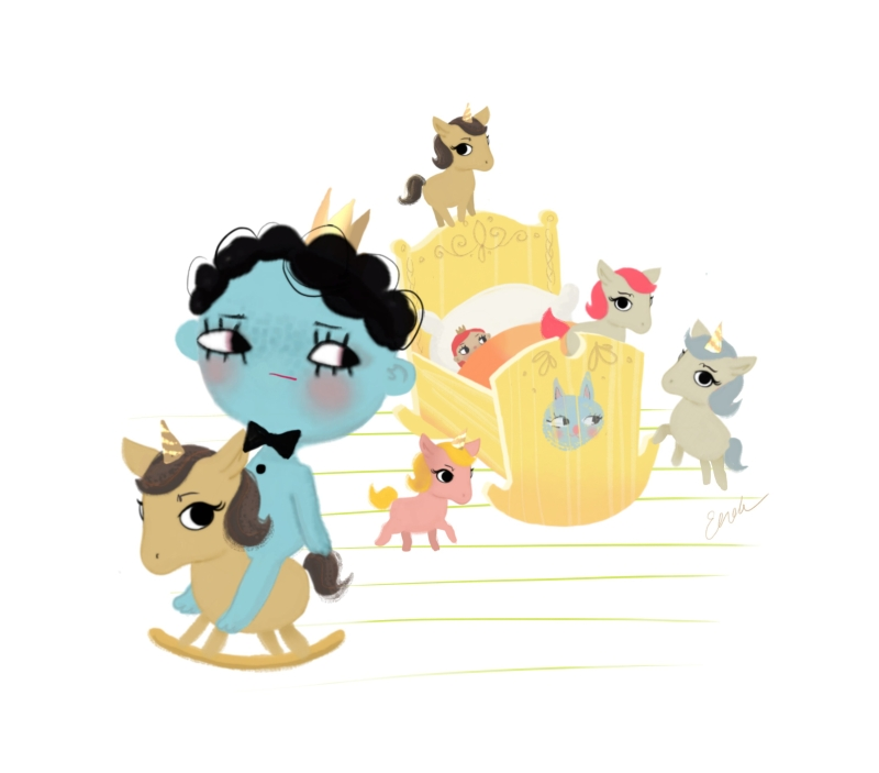 Dollcloud Illustration When you are sleepy and want to go to bed but your ponies have taken over