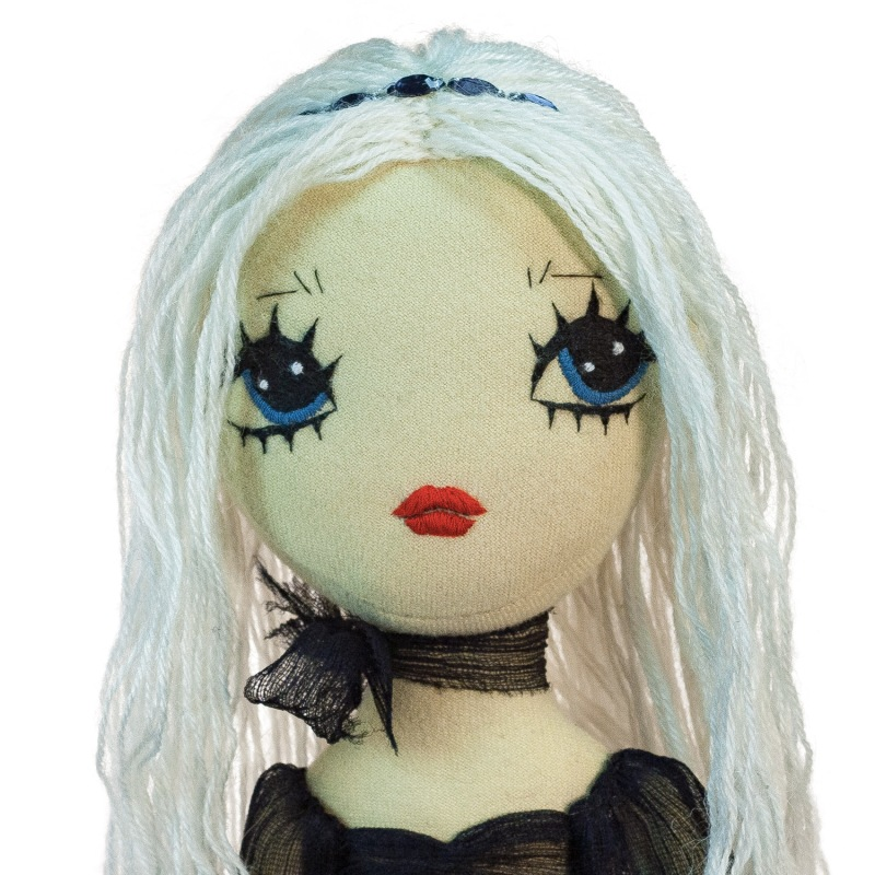Dollcloud Nightingale Hand Sewn textile fashion doll with embroidered face and high heeled leather boots